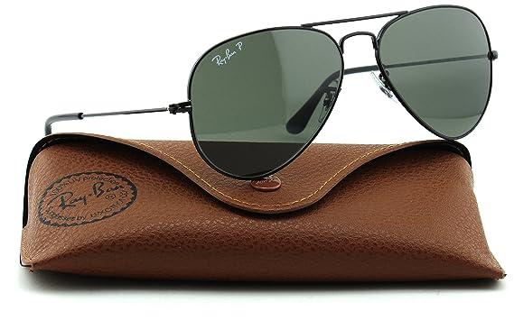 Amazon.com  Ray-Ban RB3025 Unisex Aviator Polarized Sunglasses (Black  Frame Green Polarized Lens 002 58 9533ef2b1a
