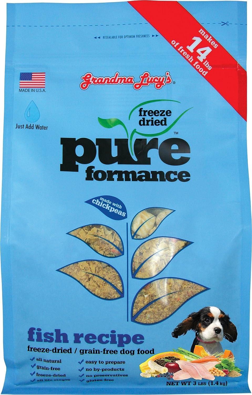 Grandma Lucy's PUREformance Dog Food, Grain Free and Freeze-Dried - Fish, 3 Pound Bag