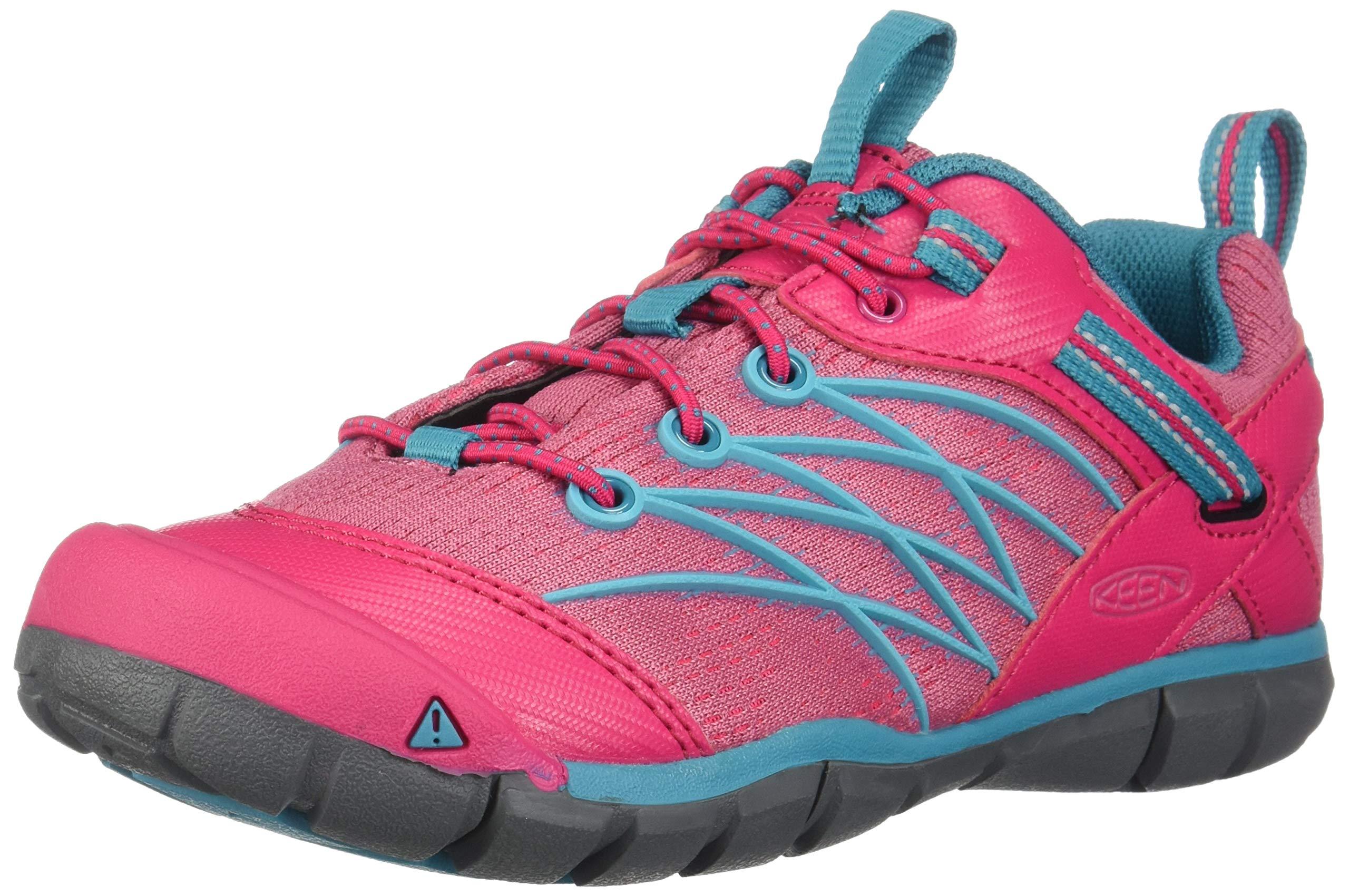 KEEN Unisex Chandler CNX Hiking Shoe, Bright Pink/Lake Green, 3 M US Big Kid