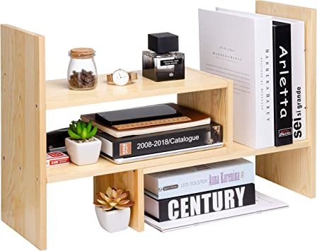 Amazon Com Desktop Organizer Office Storage Rack Adjustable Natural Wood Display Book Shelf Stand Rack Wood Caddy Desk Organizer Set Office Storage Expandable Tabletop Office Products