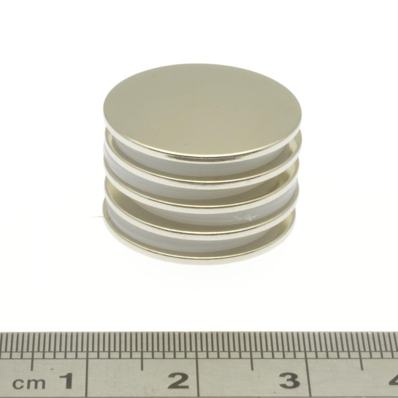 trazione circa 1,1 kg a disco dimensioni: 20 mm x 1 mm N40 20mm Diameter x 1mm Thick Silver POWER MAGNET STORE Calamite al neodimio super resistenti