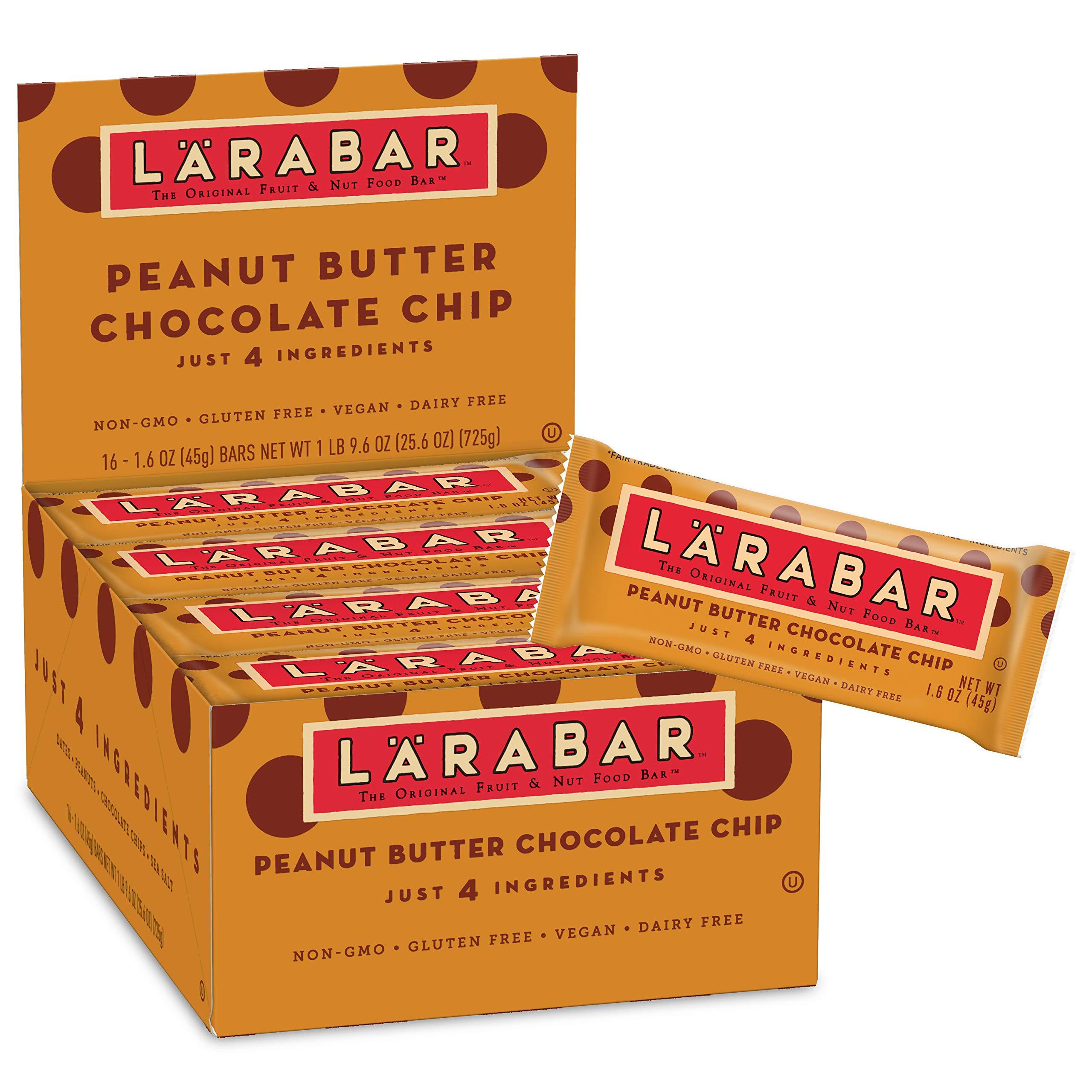 Larabar Gluten Free Bar, Peanut Butter Chocolate Chip, 1.6 oz Bars (16 Count) by LÄRABAR