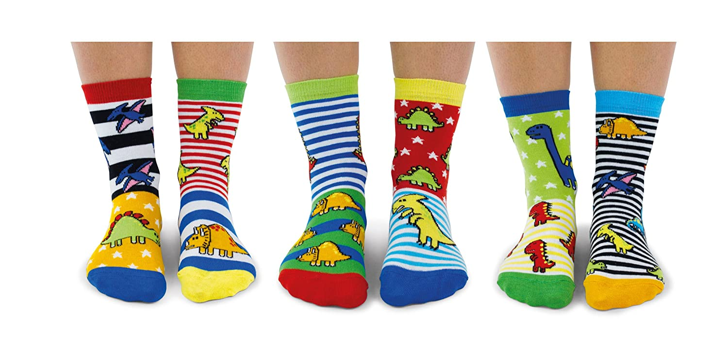 Sockasaurus Box of 6 Oddsocks for Boys UK 9-12
