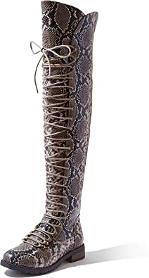 DailyShoes Women's Lace Up Thigh High