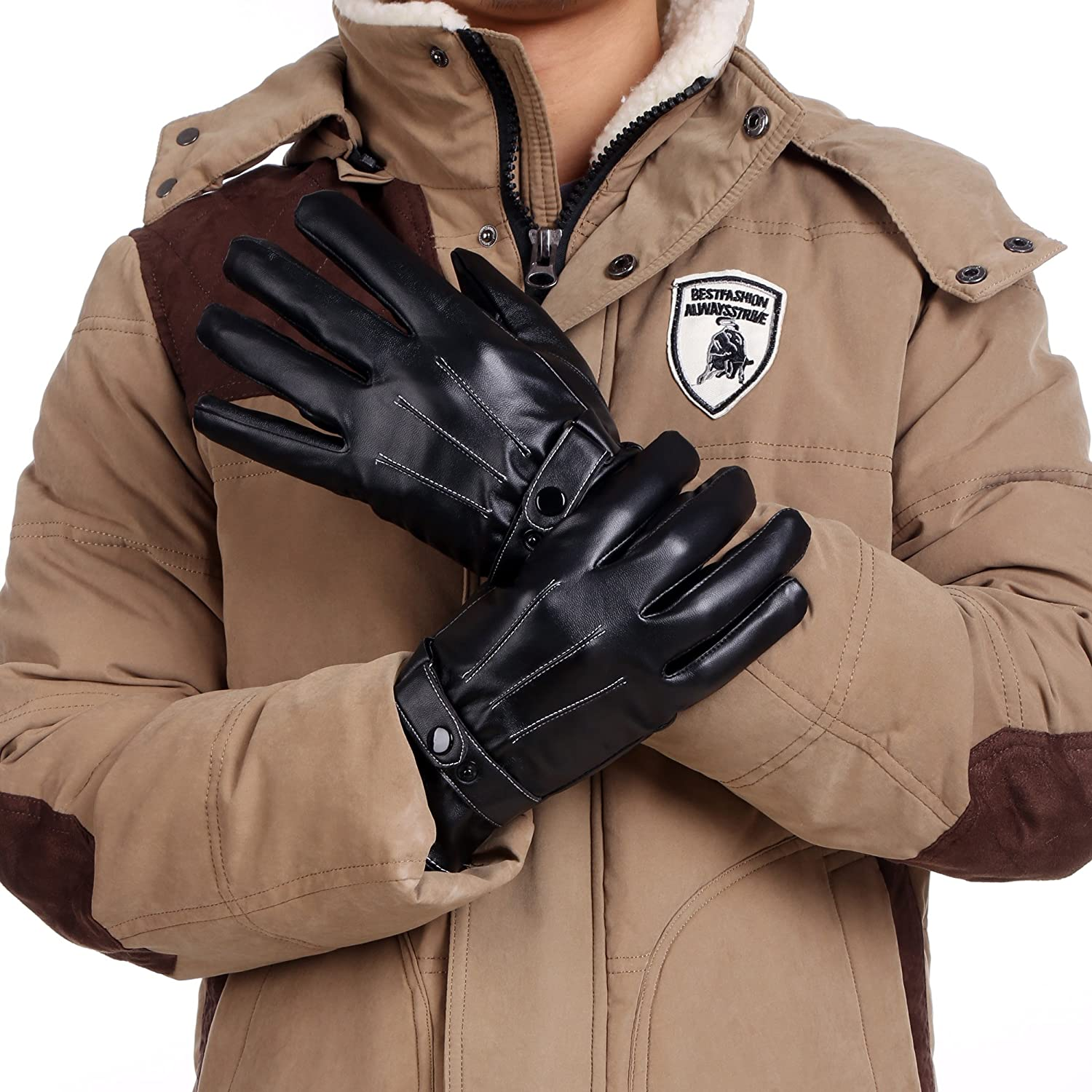 Synthetic leather driving gloves - Zeagoo Men S Fleece Lined Synthetic Leather Gloves Skiing Cycling Driving Riding Black At Amazon Men S Clothing Store