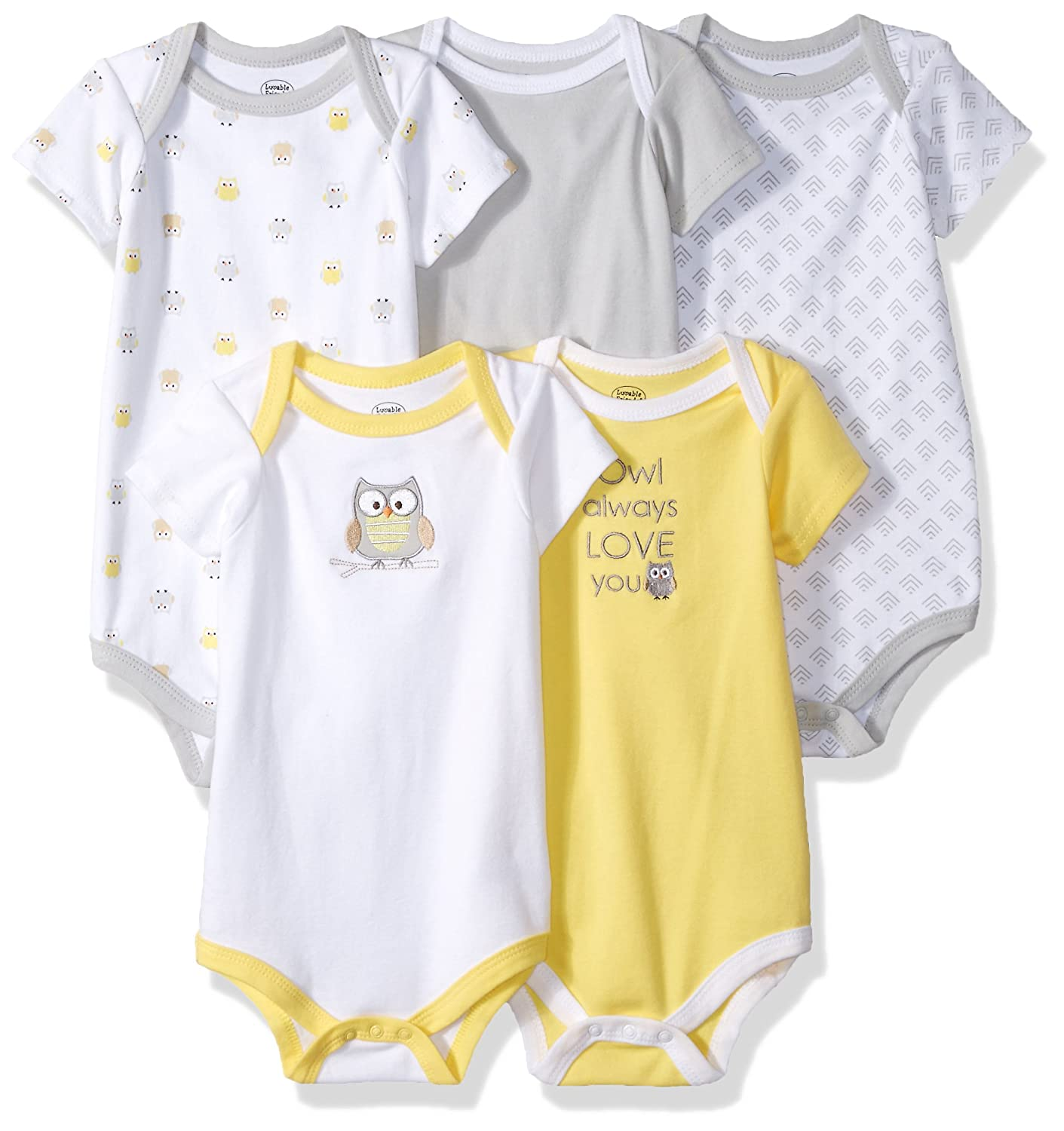 Luvable Friends Baby Infant Cotton Bodysuits, 5 Pack