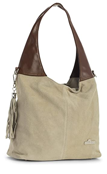 707174f7c6fb LiaTalia Womens Girls Genuine Italian Suede and Soft Leather Hobo Shopper  Shoulder Tote Handbag - Agnes