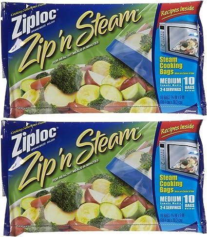Ziploc Zip /& Steam Cooking Bags 10 Bags
