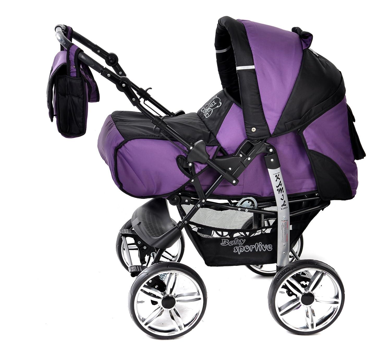 ... silla de paseo, carrito con capazo y silla de coche, RUEDAS ESTÁTICAS y accesorios (Sistema de viaje 3 en 1, violeta, negro): Amazon.es: Bebé
