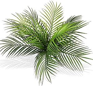 Ollain Artificial Palm Tree Plant Tropical Leaf Bush Plastic Greenery Areca Palm Plants 10 Leaves per Bush Imitation Ferns for Home Kitchen Party Flowers Arrangement Wedding Decorations