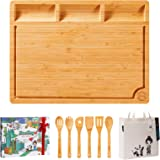 Boelley Extra Large Bamboo Cutting Board with 6 Utensils and 1 canvas bag Wooden Chopping Board for Meat, Vegetables…