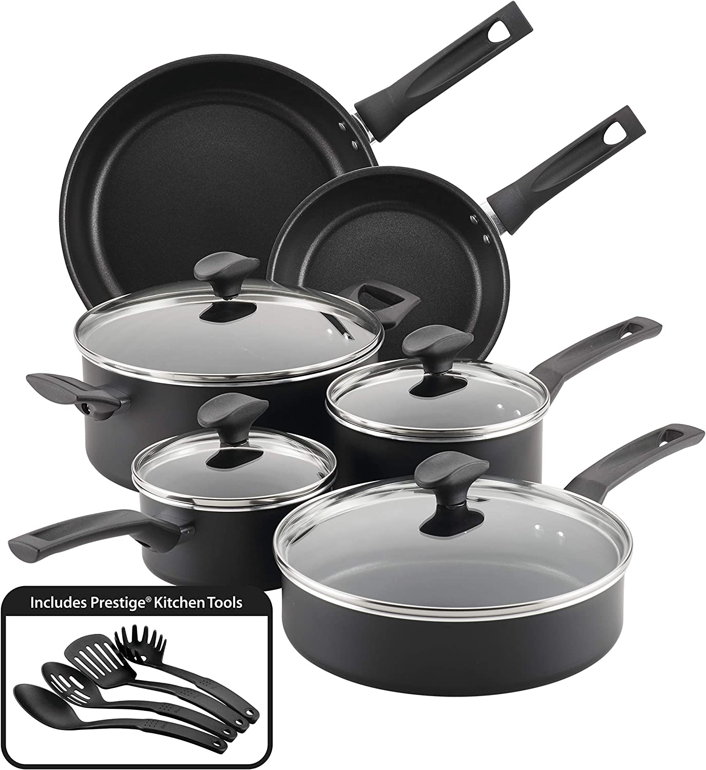 Farberware 10605 Advantage Nonstick Cookware Pots and Pans Set, 14 Piece, Black