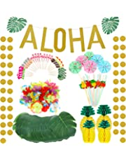 267 Pieces Hawaiian Tropical Luau Theme Party Decoration Set Includes Tropical Palm Leaves Hibiscus Flowers Tissue Paper Pineapples Aloha Banners Fruit Straws Hawaiian Cupcake Toppers Paper Umbrellas