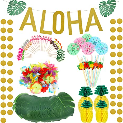 267 Pieces Hawaiian Tropical Luau Theme Party Decoration Set Includes Tropical Palm Leaves Hibiscus Flowers Tissue Paper Pineapples Aloha Banners