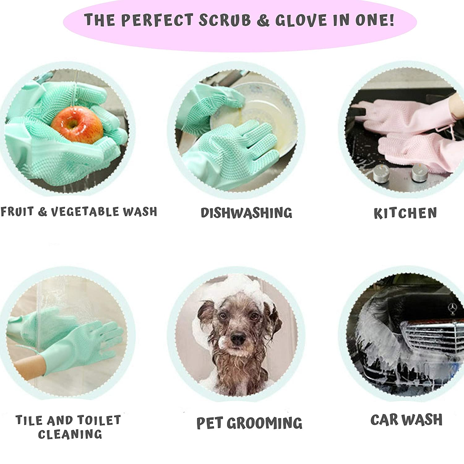 Kitchen Magic Silicone Gloves 1 Pair Reusable Heat Resistant Silicone Brush Scrubber Gloves for Dishwashing Pink, Large Wishy Washy and Pet Grooming Bathroom,Car Washing