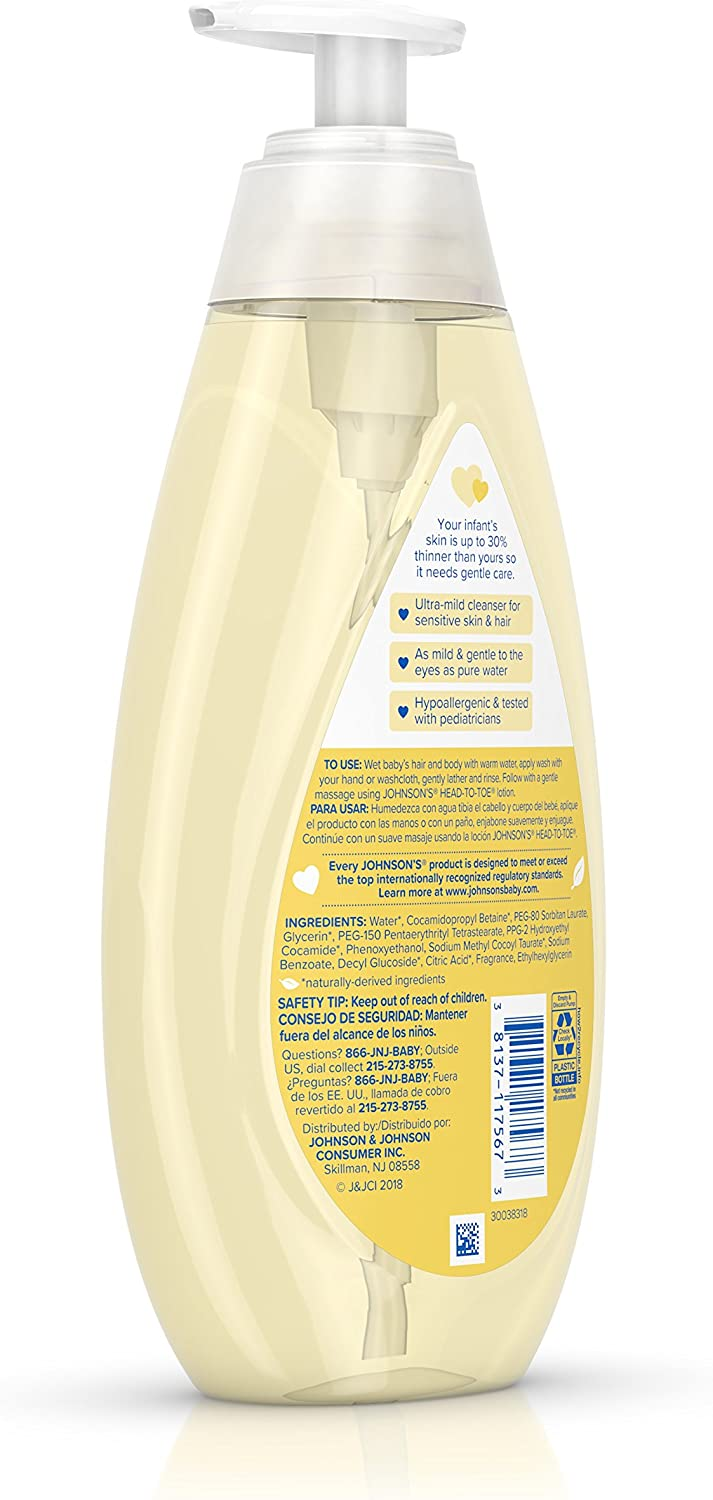 Johnson's Head-To-Toe Gentle Tear- Free Baby Wash & Shampoo for Baby's Sensitive Skin, 16.9 Fl Oz (Pack of 3)