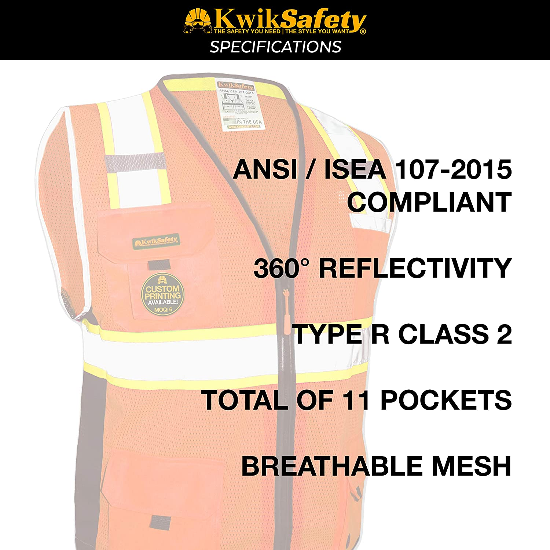 KwikSafety giallo giubbino di sicurezza ad alta visibilit/à Class 2/Deluxe Hi Vis colore arancione con zip di sicurezza catarifrangente e tasche