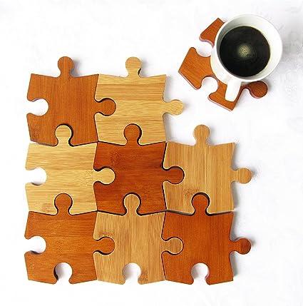 donyoyo bambú Puzzle posavasos Set de 9, tabla de cortar, salvamanteles & cuchara resto