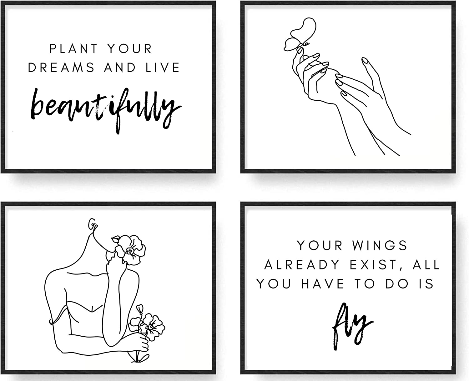 """Minimalist Line Art Inspirational Quotes 