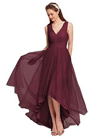 AWEI Womens Tulle Bridesmaid Dresses High Low Prom Dresses V-Neck Evening Formal Dresses,