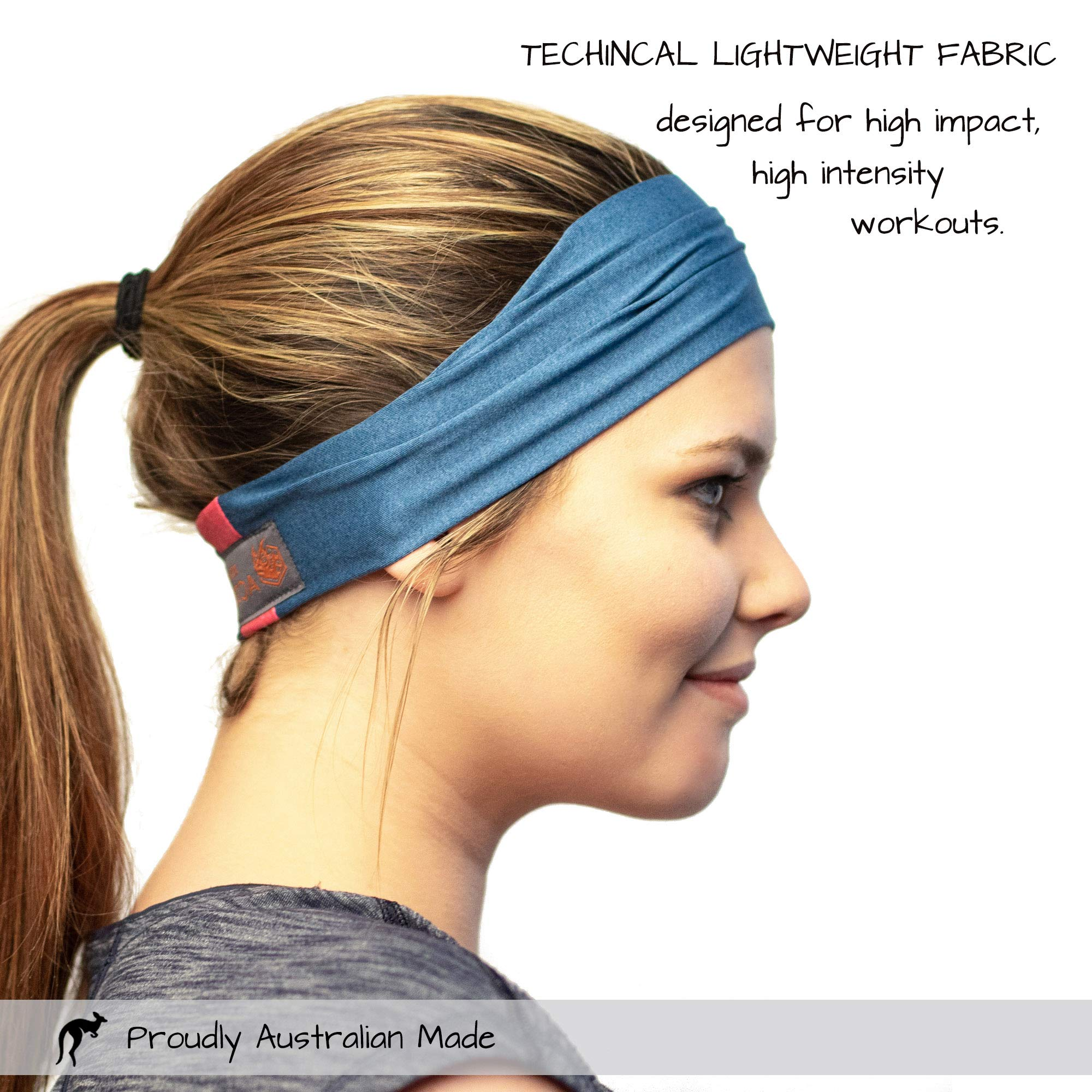 Red Dust Active Workout Headband - Ideal for Sports, Fitness, Running, The Gym & Yoga - Moisture Wicking - Non-Slip - Exercise Sweatband - Designed for Versatility & The Active Women by Red Dust Active (Image #2)