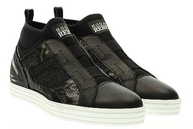 65f734a63b5cf HOGAN REBEL woman sneakers high HXW1820V990ELV0564 R182 MID CUT RUBBER  BANDS 40 Nero   piombo
