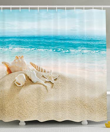Ambesonne Ocean Decor Collection, Starfish Seascape Sea Beach Picture  Print, Bathroom Set Fabric Shower