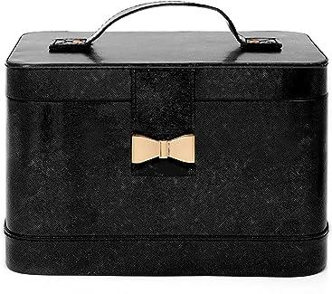 Ellen Tracy Compact Crossgrain Vegan Leather Makeup Train Case Metallic Bow Snap Closure Portable Travel Case