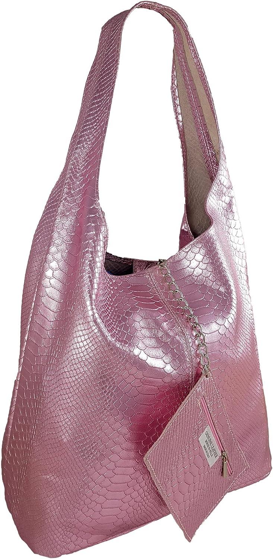 Freyday Damen Ledertasche Shopper Wildleder Handtasche Schultertasche Beuteltasche Metallic look