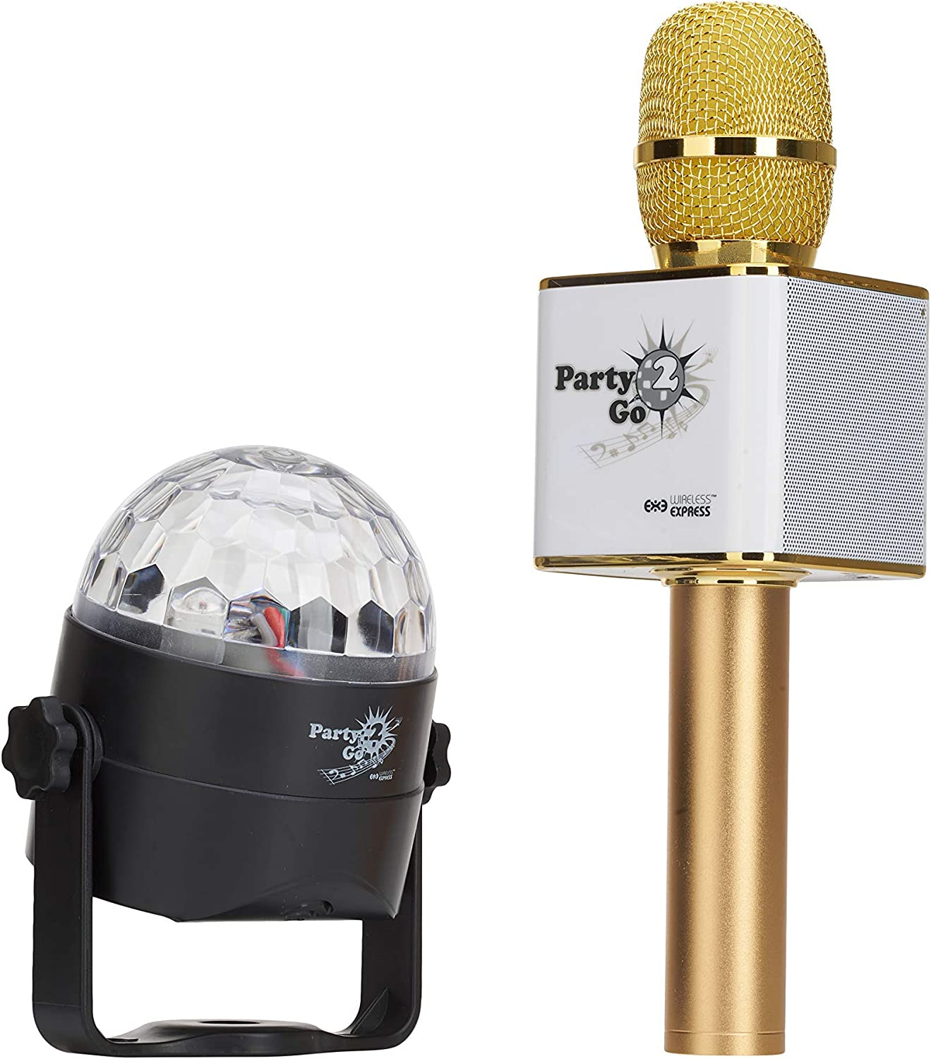 Party2Go Bluetooth Karaoke Microphone and Disco Ball Set (Gold)
