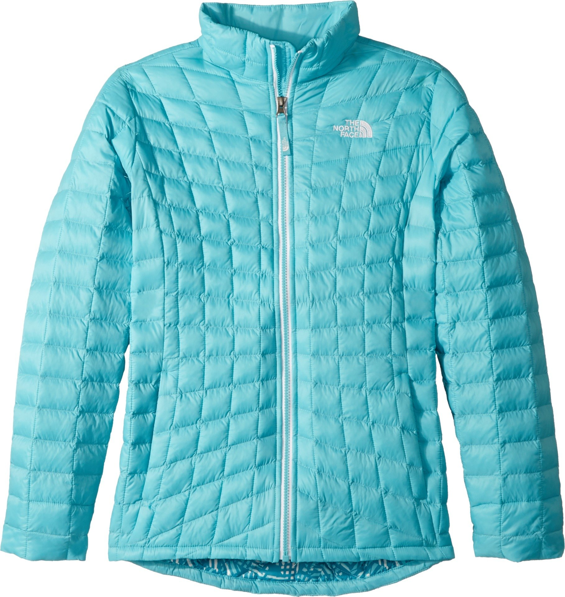 The North Face Kids Girl's Thermoball Full Zip (Little Kids/Big Kids) Algiers Blue Leaf Print/TNF White X-Large