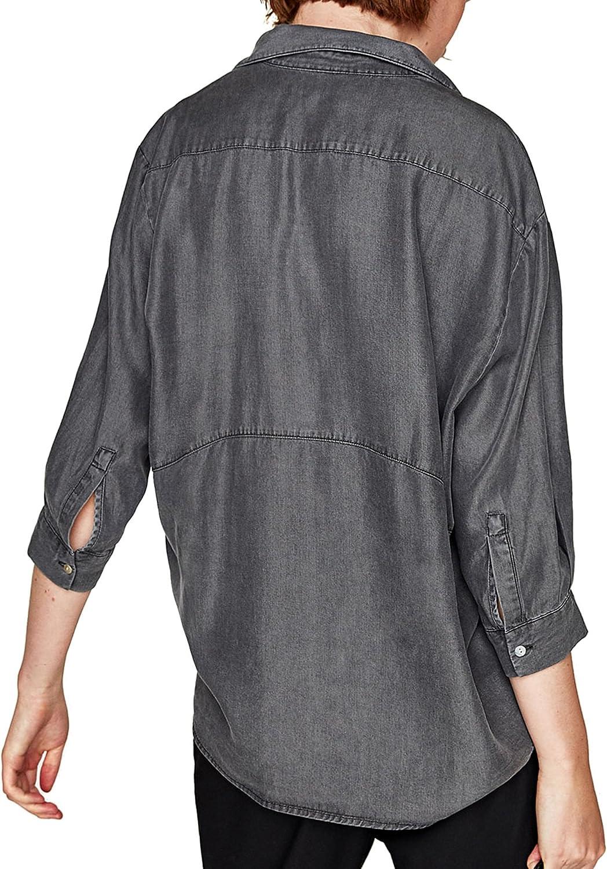 Zara - Camisas - para mujer gris XL: Amazon.es: Ropa y accesorios