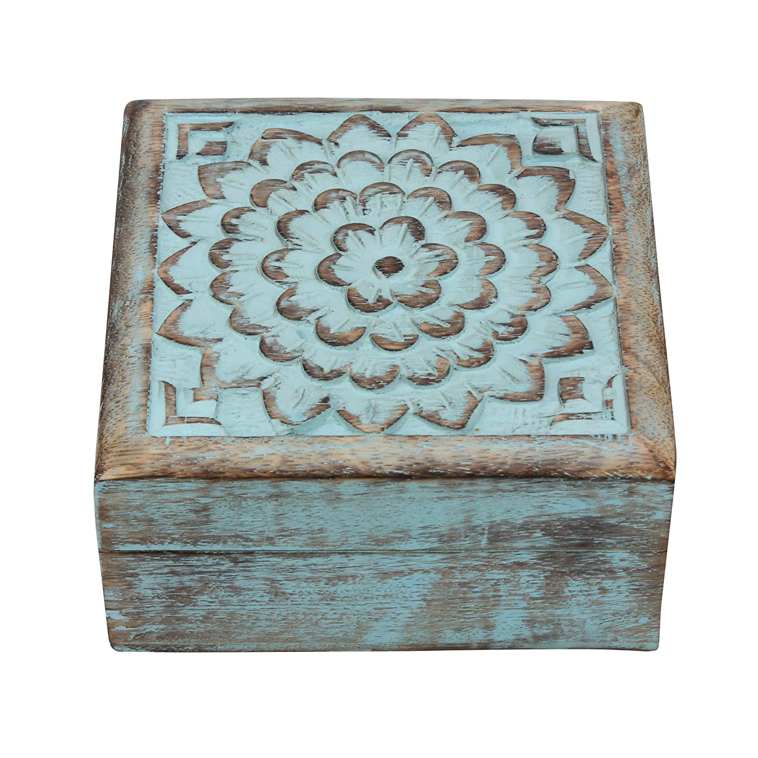 or Any Occasion Christmas Weddings Decorative Jewelry Holder Stonebriar Vintage Worn Blue Floral Wooden Keepsake Box with Hinged Lid Storage for Trinkets and Memorabilia Gift Idea for Birthdays