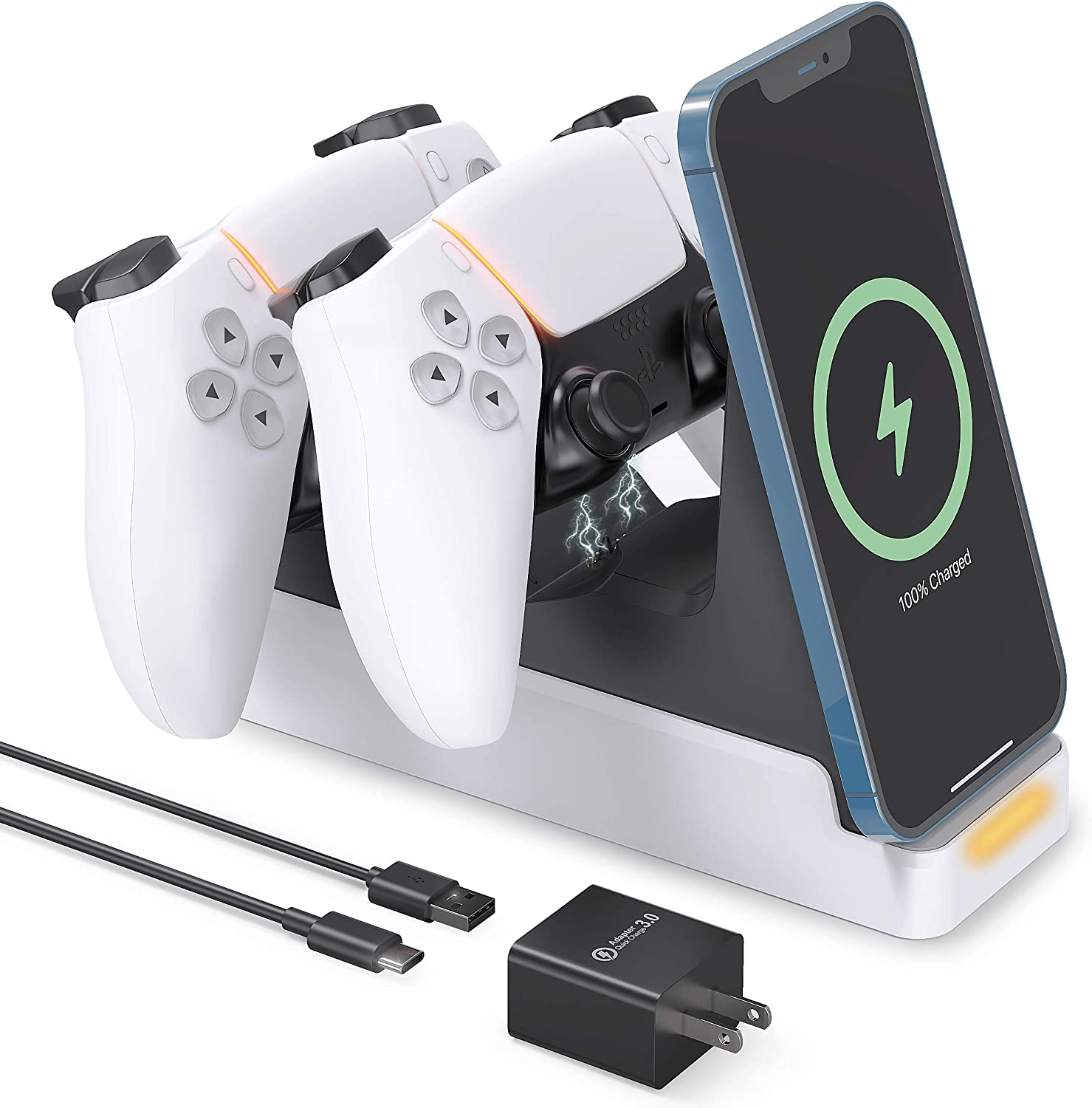 VMEI PS5 Controller Charging Station, DualSense Wireless Charging Dock,15W Fast Wireless Charger Compatible with Dual Playstation 5 Controllers/iPhone/Samsung All Qi-Certified Phones-White