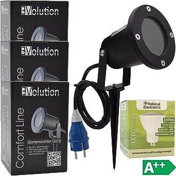 3x Evolution jardín GU10 focos LED incl. National Electronics 3.5W bombillas LED proyector con