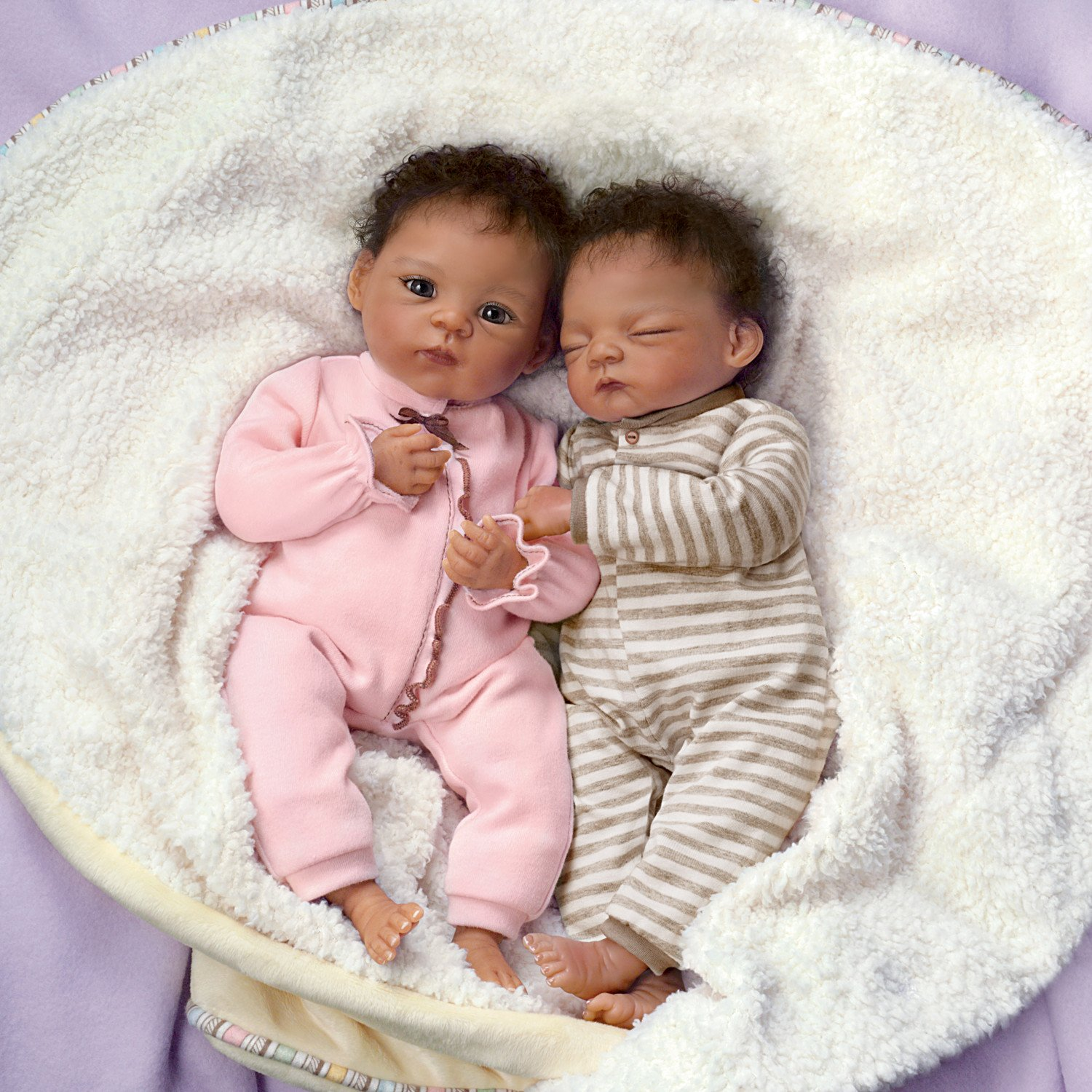 Amazon com jada and jayden twins in custom bunting so truly real lifelike realistic newborn african american baby dolls 13 inches by the ashton drake