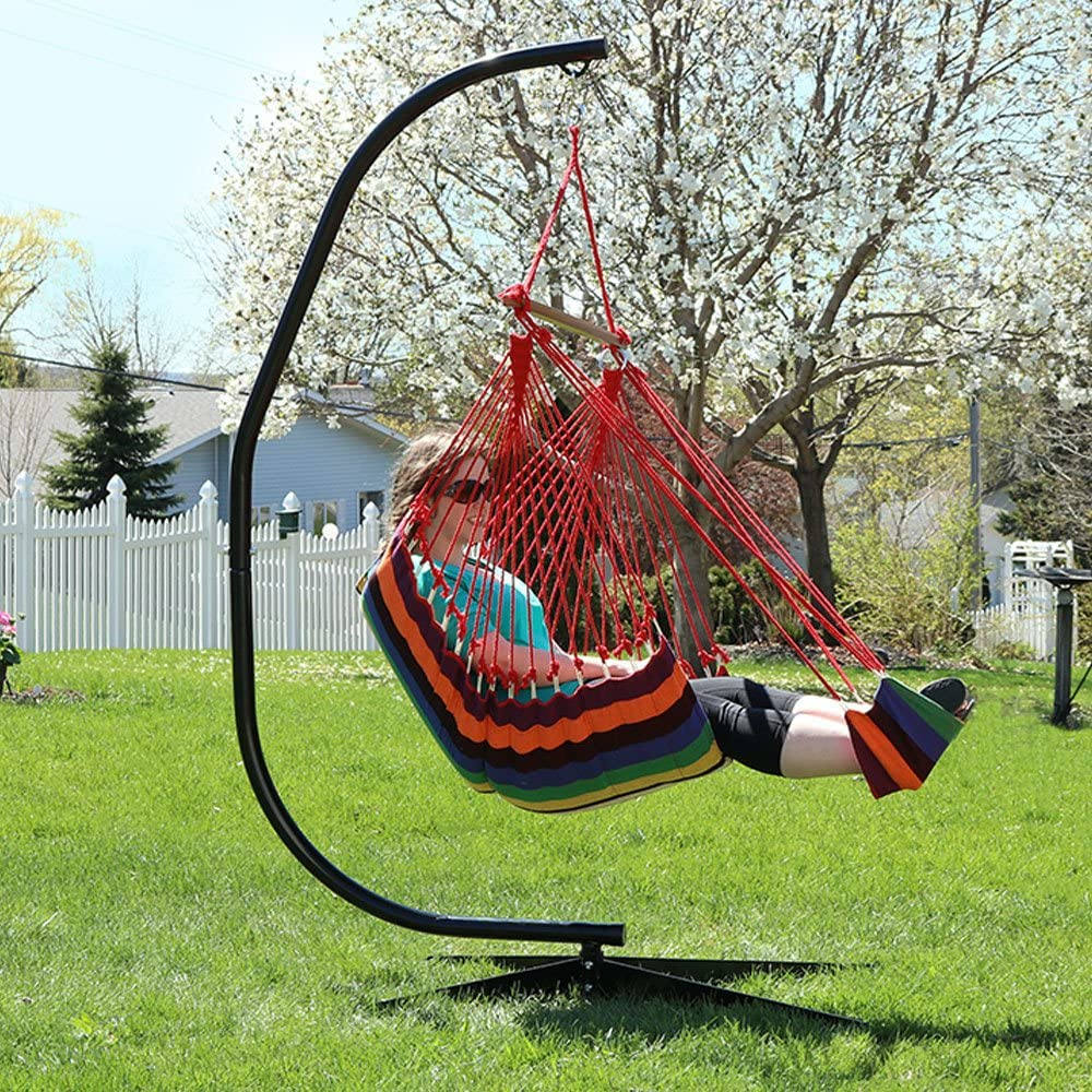 Sunnydaze 26 Inch Wide Hanging Hammock Chair with Footrest and 7 ft C-Stand - Sunset - 300 lbs Weight Capacity