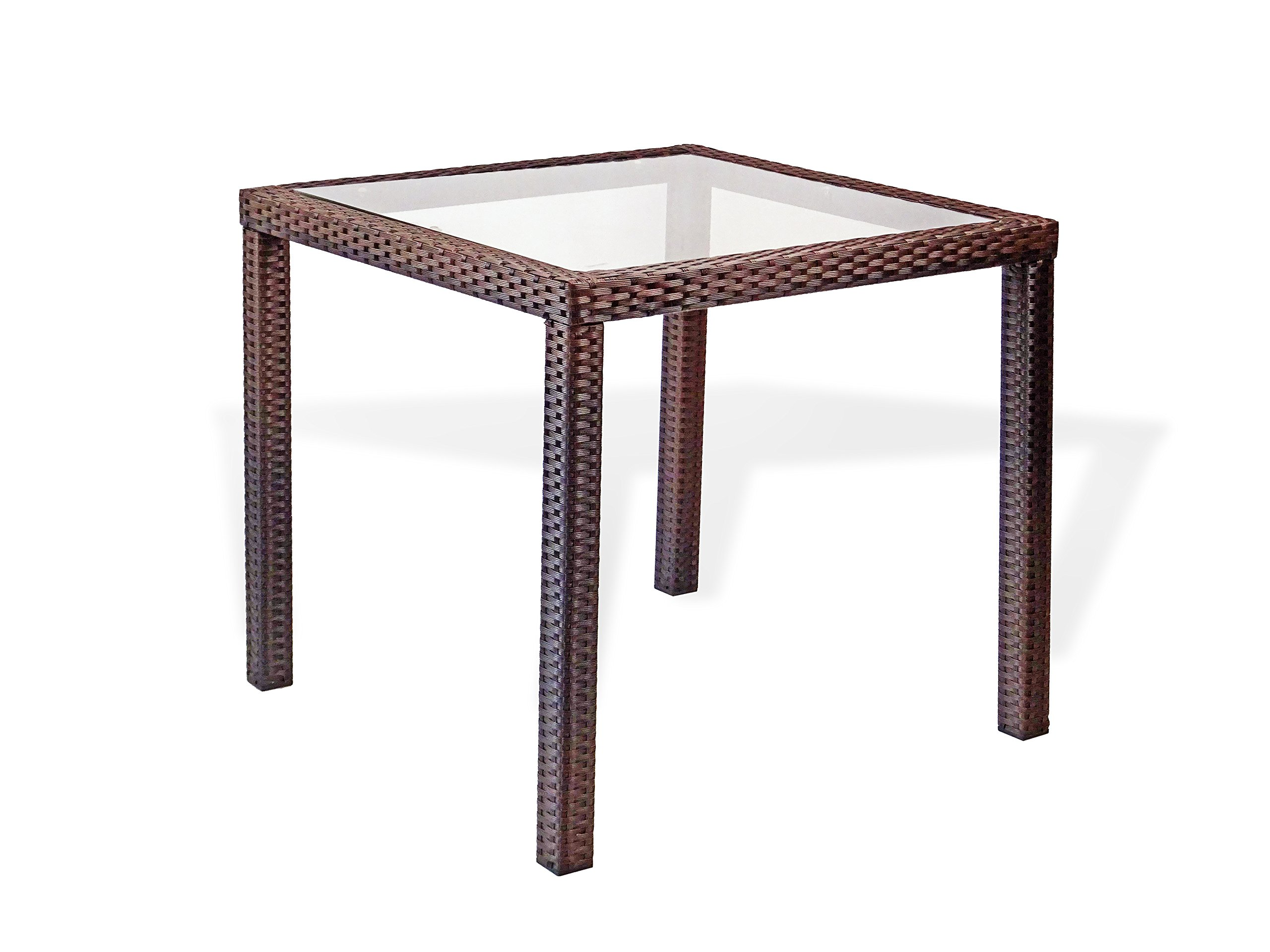 Patio Resin Outdoor Wicker Square 31 5 Inches Dining Table W Glass Top Dark Brown Buy Online In Bermuda At Bermuda Desertcart Com Productid 42543260