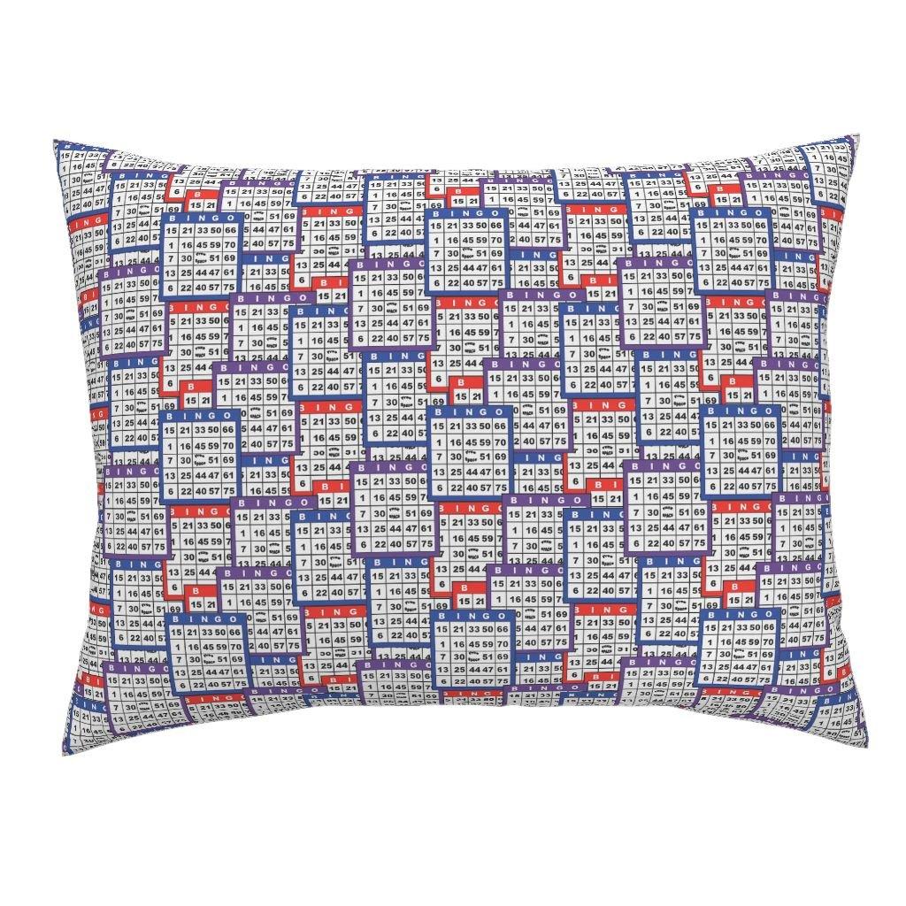 Roostery Bingo Euro Knife Edge Pillow Sham Single Bingo Cards by Dd BAZ Natural Cotton Sateen Made