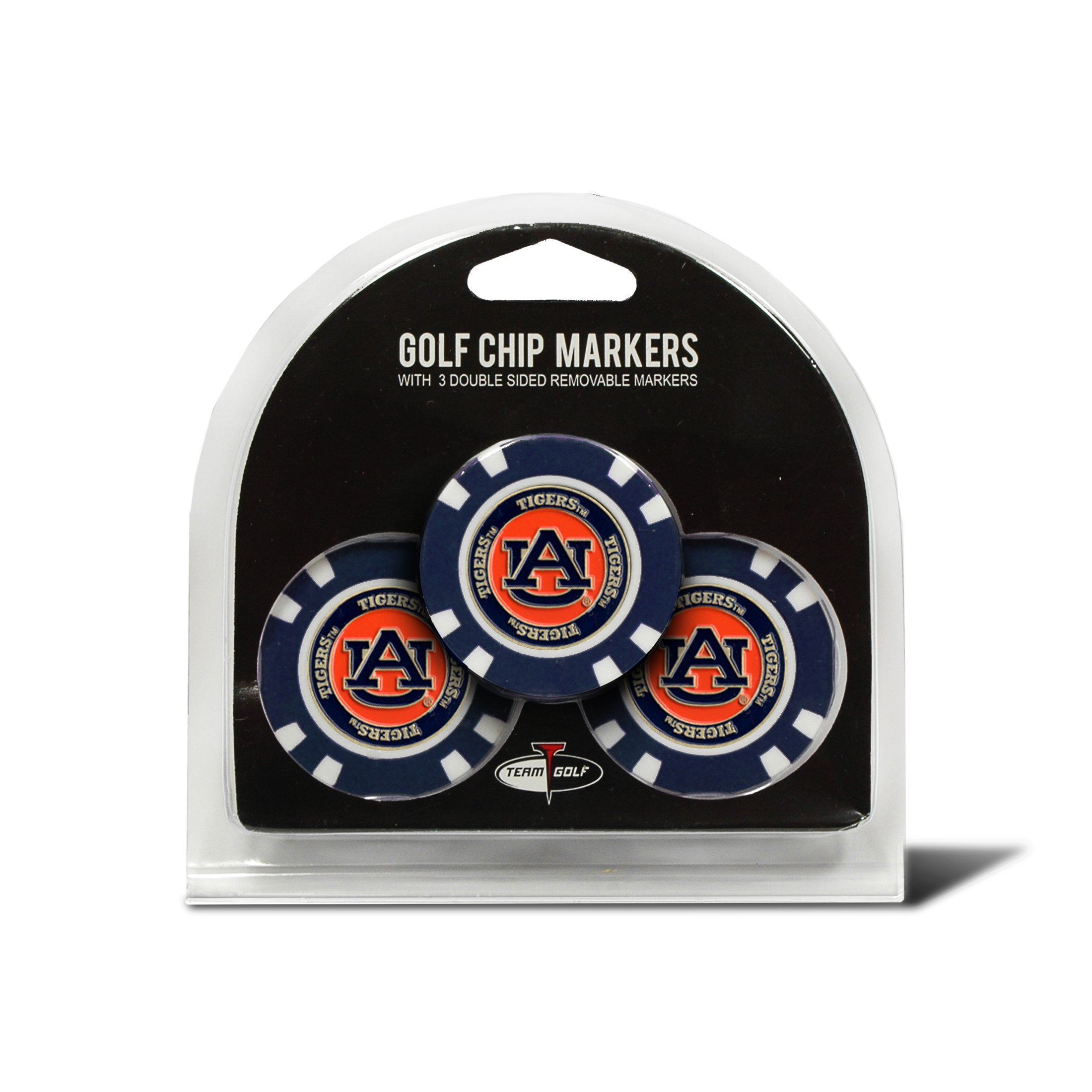 Team Golf NCAA Auburn University Tigers Golf Chip Ball Markers (3 Count), Poker Chip Size with Pop Out Smaller Double-Sided Enamel Markers by TEAM GOLF