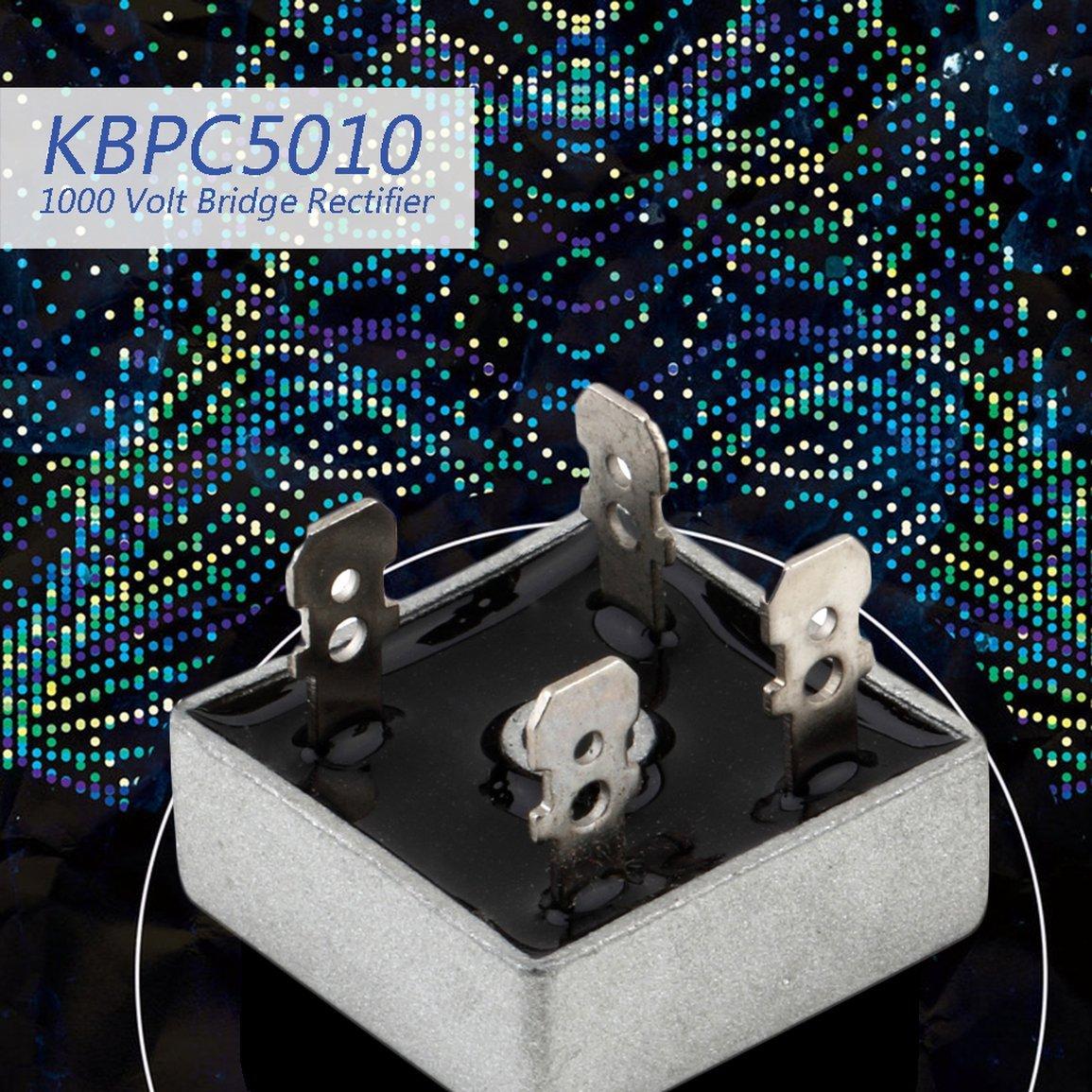 KBPC5010 1000 Volt pont redresseur 50 Amp 50A Bo/îtier m/étallique pour le chauffage Dissipation 1000V forme carr/ée Phases diode unique Pont