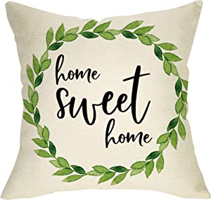 "Ussap Rustic Home Sweet Home Green Olive Wreath Sign Decoration Vintage Farmhouse Decorative Throw Pillow Cover Cushion Case for Sofa Couch Home Decor Cotton Linen 18"" x 18"""