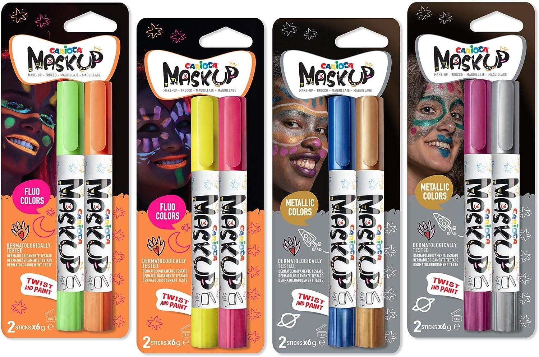Carioca Set Mask Up Metallic y Neon | Maquillaje Infantil Pintura de Cara para Niños y Niñas, Pintura Facial en Barra para Navidad, Halloween, Carnaval y Fiestas - Brillantes, Metálicos y Neon, 8 Uds