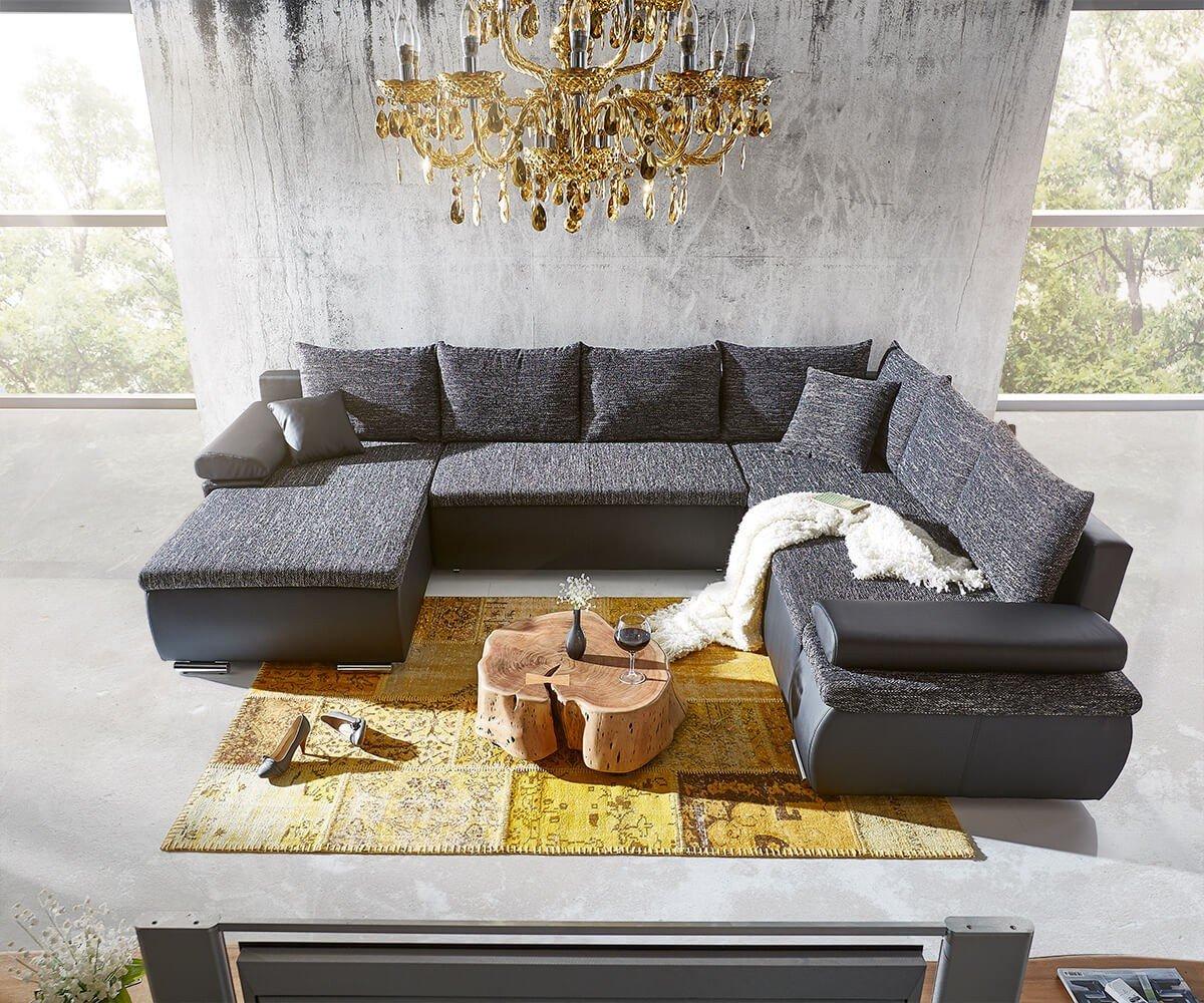 Couch Cariba Schwarz Grau 322x250 cm mit Schlaffunktion Wohnlandschaft