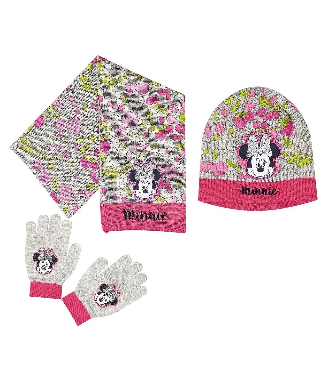 Disney Minnie Chicas Conjunto de 3 piezas: bufanda, gorro y guante - Gris
