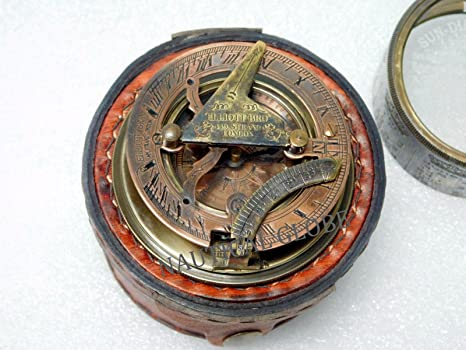 Maritime Bright Nautical Maritime Brass Pocket Compass Magnetic Camping Hiking With Leather Case