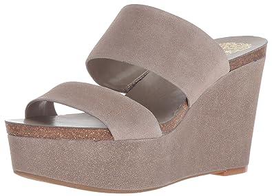 95e9aa424d4 Vince Camuto Women s Varenia Wedge Sandal Silver Grey 10 Medium US