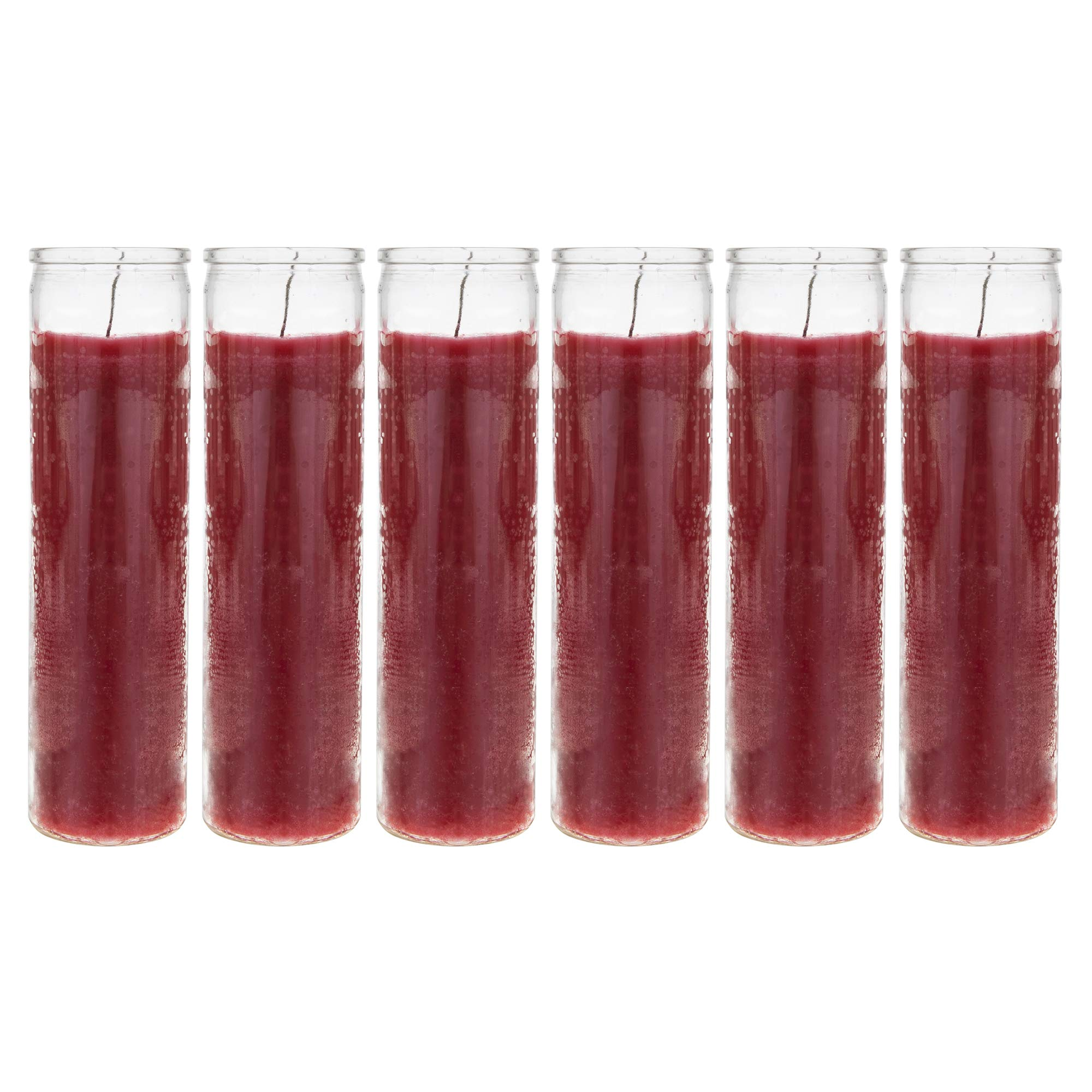 Mega Candles 6 pcs Unscented Red 7 Day Devotional Prayer Glass Container Candle | Premium Wax Candles 2'' x 8'' | Great for Sanctuary, Vigils, Prayers, Blessing, Religious & Much More!
