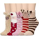 Leotruny 5-Pack Women's Animals Cute Soft Warm Fuzzy Socks