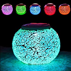 HDNICEZM 1PCS Color Changing Solar Powered Glass Ball Garden Lights, Solar Table Lights Waterproof Solar Led Night Light for Patio Garden Wedding Outdoor Decoration, Ideal Gift(Crack Glass)